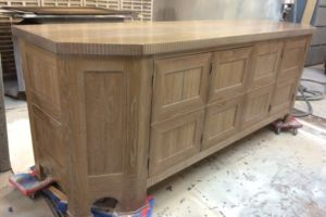 Custom solid oak buffet, light oak cerused finish