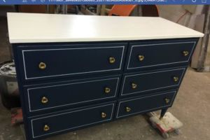 Vintage dresser lacquered base wrapped top