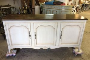 Antique painted base with wood finish on top