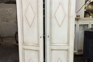Glazed diamond armoire with white antique swedish finish